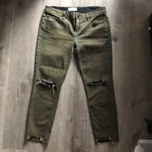 Free People Olive Green Ripper Skinny Jeans